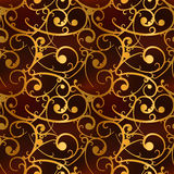 Golden baroque swirls on red, luxury seamless pattern Stock Image