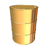 Golden barrel. 3d rendering on white background Royalty Free Stock Photography