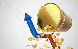 Golden Barrel with chat and coins. Rising oil prices. Out of the Crisis Royalty Free Stock Image