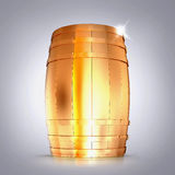 Golden  barrel  on a grey background. Royalty Free Stock Photography