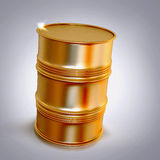 Golden  barrel  on a grey background. Royalty Free Stock Image