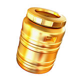Golden barrel isolated on a white background. Royalty Free Stock Images