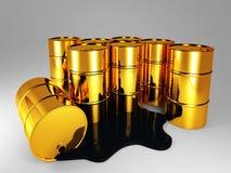 Golden barrel of oil vector illustration