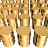 Golden barrels. 3d rendering on white background Royalty Free Stock Photography
