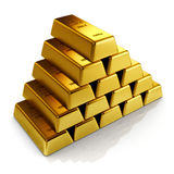 Golden bars. 3d Illustration of a gold bars on a white background Royalty Free Stock Photos