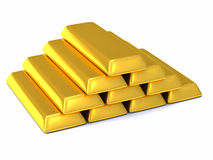Golden bars 3d Stock Image