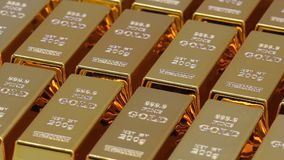 Golden bars as a background Financial concepts. Full hd video stock video