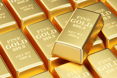 Golden bars background, 3D Stock Photography
