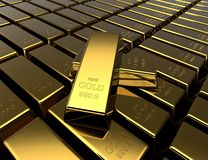 Golden bars background. Golden bars. Precious metal ingots. Business background. Finance and banking concept. 3D illustration Stock Images