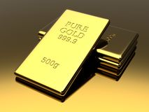 Golden bars background. Golden bars. Precious metal ingots. Business background. Finance and banking concept. 3D illustration Royalty Free Stock Photography