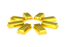 Golden bars circle arrangement Stock Photography