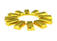 Golden bars circle arrangement Stock Images