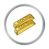 Golden bars icon in cartoon style isolated on white background.  Royalty Free Stock Image