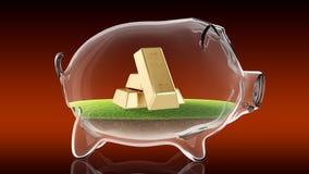 Golden bars inside transparent piggy bank. 3d rendering Royalty Free Stock Photography