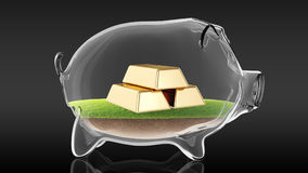 Golden bars inside transparent piggy bank. 3d rendering Stock Photos