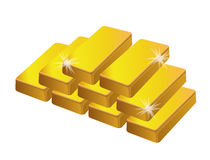 Golden bars isolated Stock Photo