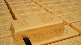 Golden bars. Many golden bars near each other. 3d Stock Photo