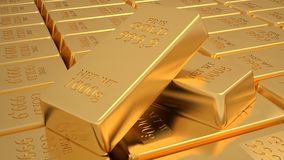 Golden bars. Many golden bars near each other. 3d Royalty Free Stock Photo