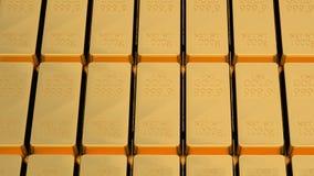 Golden bars. Many golden bars near each other. 3d Stock Images