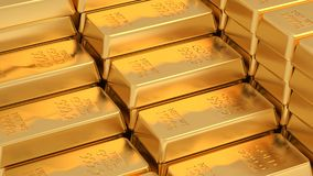 Golden bars. Many golden bars near each other. 3d Royalty Free Stock Image