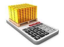 Golden Bars over Calculator. 3d Rendering. Golden Bars over Calculator on a white background. 3d Rendering Stock Photos