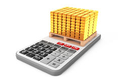 Golden Bars over Calculator. 3d Rendering Royalty Free Stock Photo