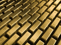 Golden bars. In perspective view Stock Images