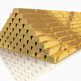Golden bars pyramid isolated Stock Photos