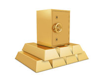 Golden bars and safe deposit Stock Image