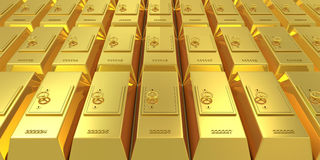 Golden bars with safe deposits Stock Photo