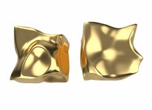 2 golden bars in the shape of boxes, 3D illustration isolated on white background. Conceptual depiction of success. Wealth, and prosperity royalty free illustration