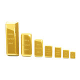 Golden bars on the white background Stock Photos