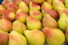Golden Bartlett Pear for sale at city market. Baku. Azerbaijan stock photo