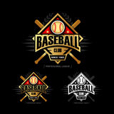 Golden Baseball sport badge logo design template and some elements for logos, badge, banner.  T-shirt screen and printing. Royalty Free Stock Photo