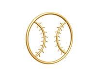 Golden baseball symbol. Isolated on white background Royalty Free Stock Photos