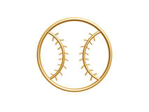 Golden baseball symbol. Isolated on white background Stock Images