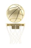 Golden basketball ball over hoop isolated Stock Photos
