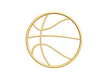 Golden basketball symbol. Isolated on white background Royalty Free Stock Photo