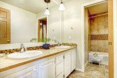 Golden bathroom interior with wood white painted cabinets and beige tiles. Golden bathroom interior with wood white painted cabinets Royalty Free Stock Photography