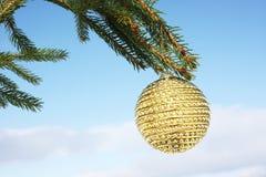Golden bauble on christmas tree. Christmas bauble on christmas tree Royalty Free Stock Photography