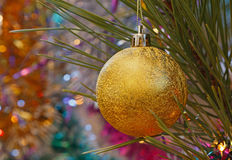 Golden bauble on Christmas tree Stock Image