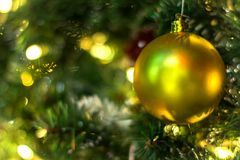 Golden Ornament on Christmas Tree Decorations Background stock photo