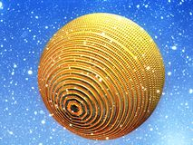 Golden Bauble in Snow Stock Images