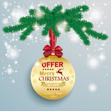 Golden Bauble Snow Lights Fir Branch. Snow with star and red ribbon on the grey background Royalty Free Stock Photography
