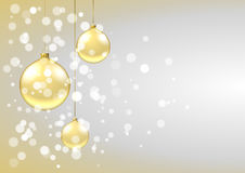 Golden baubles card Stock Image