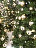Golden baubles on christmas tree Stock Photo