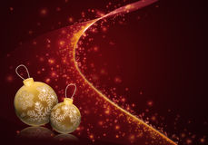Golden baubles on red starry background. Christmas illustration with golden baubles on deep red abstract starry background Royalty Free Stock Images