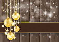 Golden Baubles Stars Bokeh Glitter Wood Stock Photography