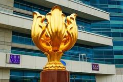 Golden Bauhinia sculpture Royalty Free Stock Image