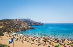 Golden Bay beach in Malta. Panoramic view of famous beach Golden Bay in Malta Stock Image